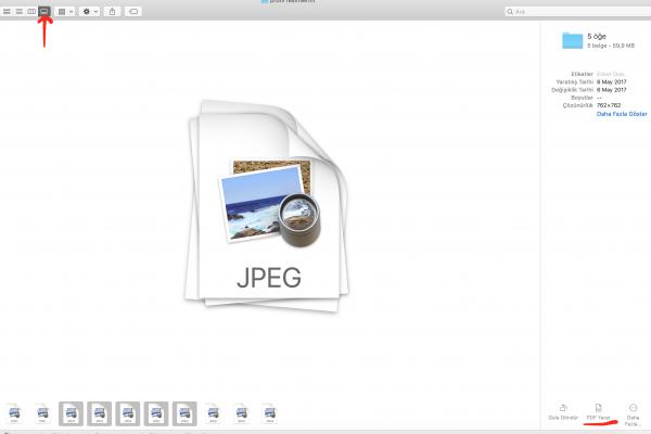 macOS Mojave Galeri Görünümü