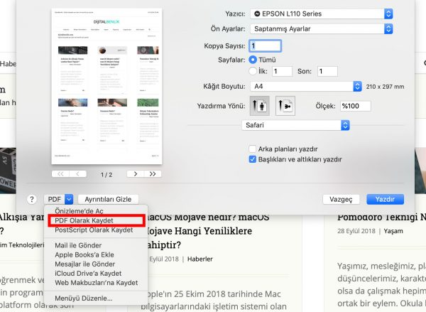 PDF Yazdırma Nedir? Safari