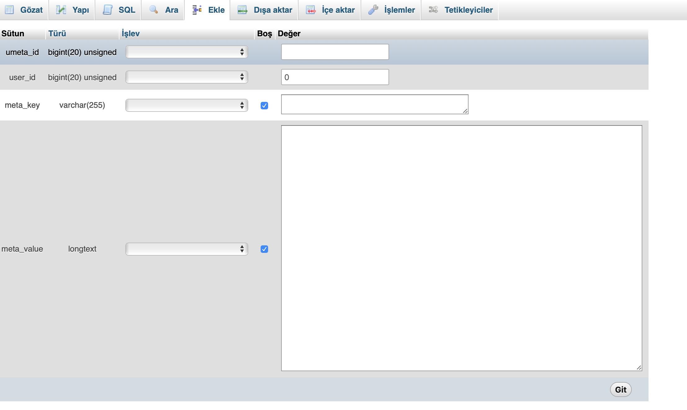 Phpmyadmin ile WordPress veritabanında Admin oluşturma